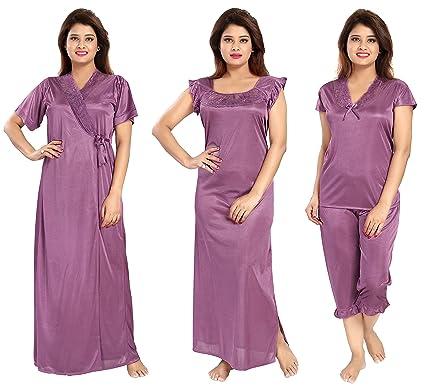 Noty - Women s Satin Nighty - 4 Pc Set- Nighty Robe Top Capri ... 4840c4cac