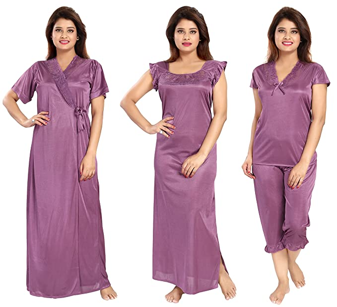 Noty - Women s Satin Nighty - 4 Pc Set- Nighty Robe Top Capri ... 4f7ea5289