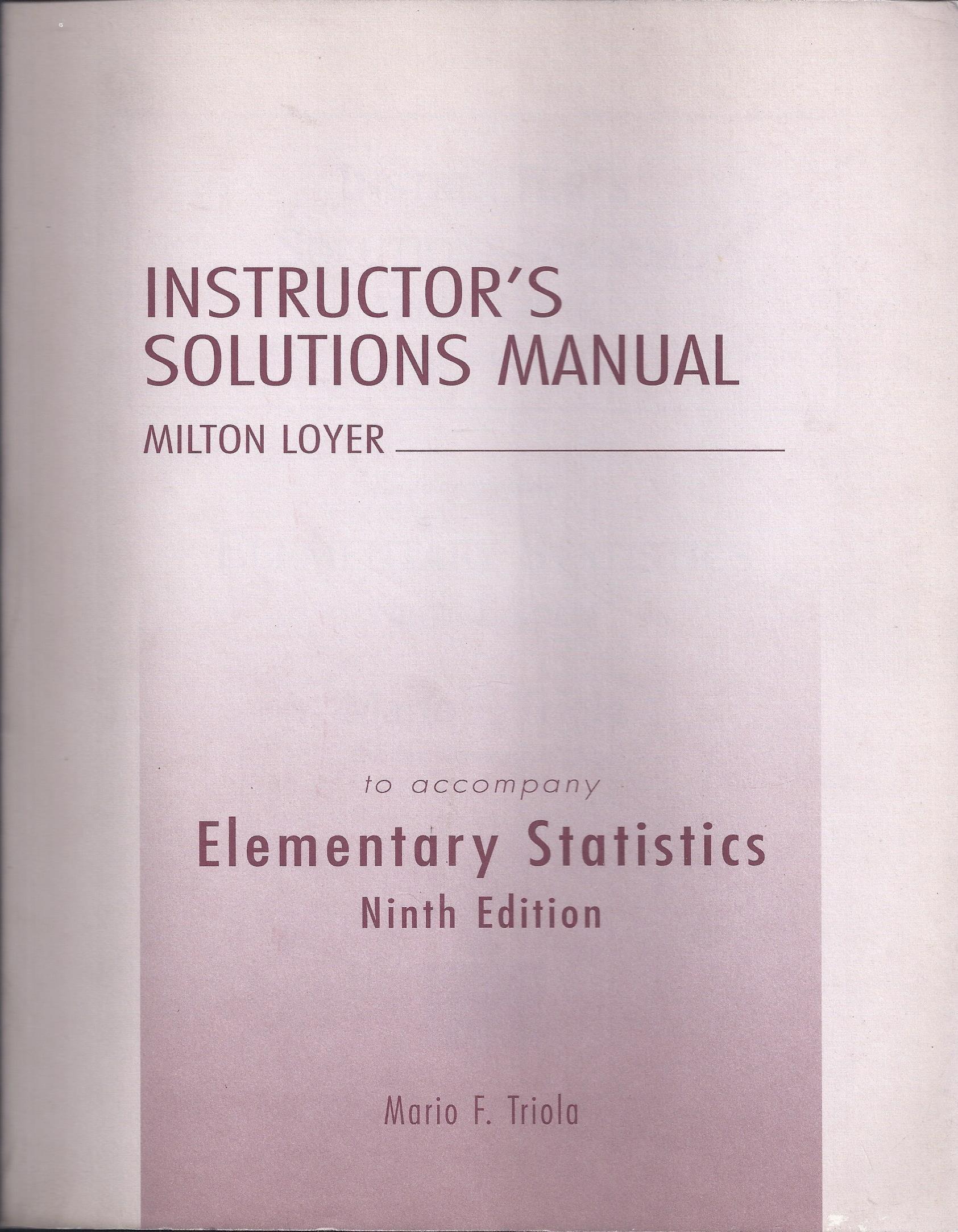 Elementary Statistics: Instructor's Solutions Manual: Mario F. Triola:  9780321122124: Statistics: Amazon Canada