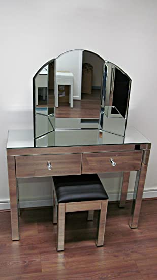Venetian mirror Glass 2 Drawer Dressing Table Set bedroom