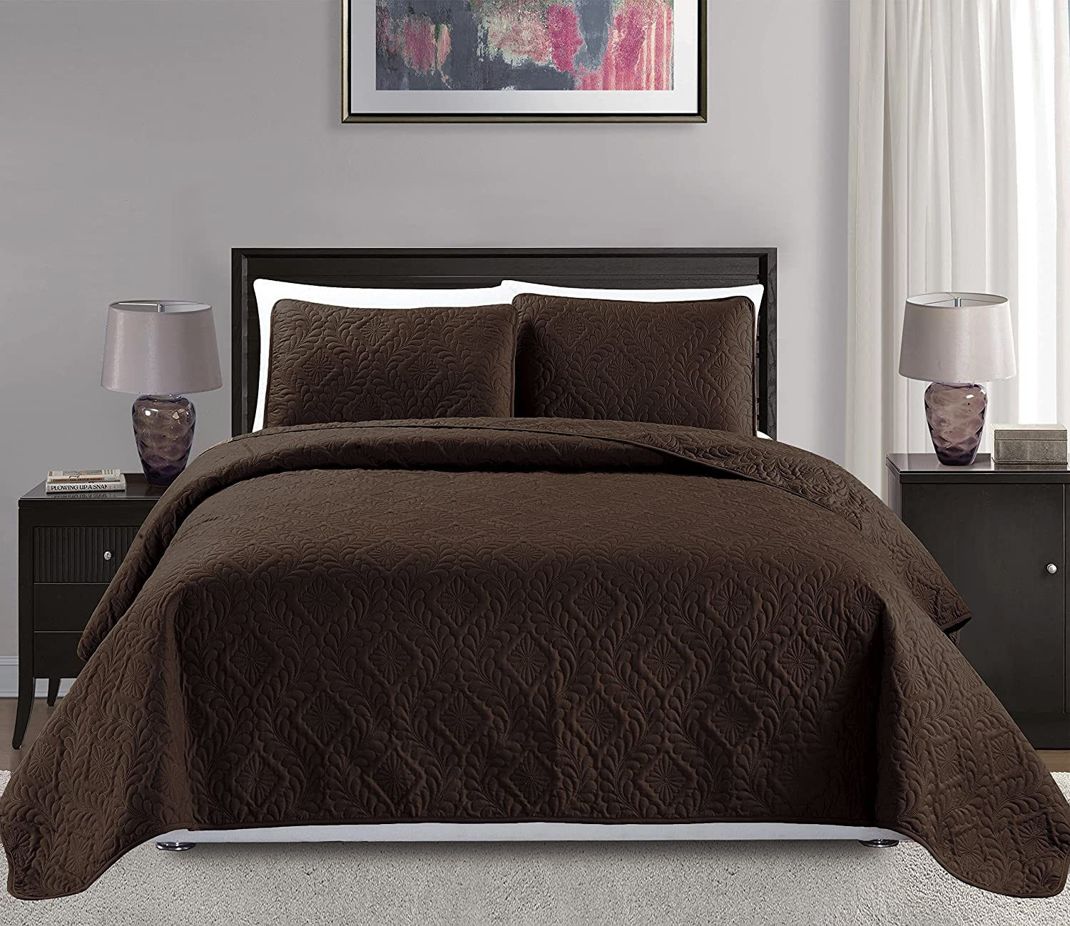 Mk Collection 3pc Full/Queen Over Size Diamond Bedspread Bed Cover Embossed Solid Brown/Chocolate New