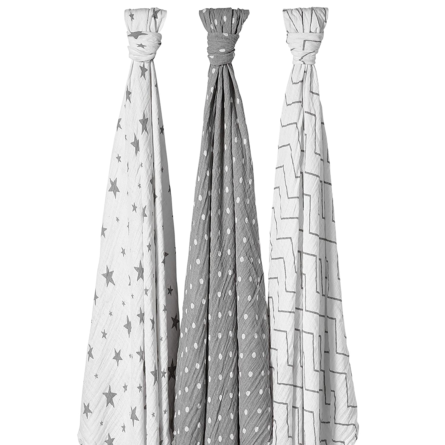 Bloomsbury Mill - Pack of 3 x Muslin Swaddles - 120cm x 120cm - Stars, Chevrons & Polka Dots - Grey & White