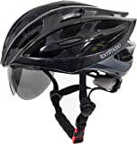 Tommaso Sole Lightweight Cycling Bike Helmet Retractable Eye Shield Road & Mountain Bike Adjustable Fit 2 Sizes 4 Colors (Black,Matte Black,White,Titanium) Certified Safety Protection Men Women Youth