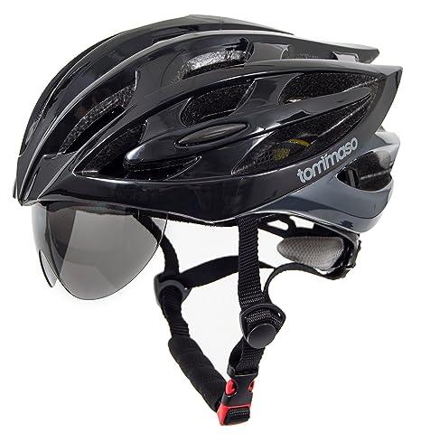1a751c4d Tommaso Sole Lightweight Cycling Helmet Retractable Eye Shield Road & MTB  Adjustable Fit 2 Sizes 4 Colors Black,Matte Black,White,Titanium Certified  Safe ...