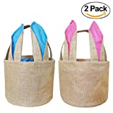 Amazon Price History for:Easter Bunny Basket Egg Baskets for Kids with Cross-stitch Line Burlap Gift Bag Round Tote Jute Bags for Embroidery DIY Daily Use (2 Pack, Pink and Blue) FH04