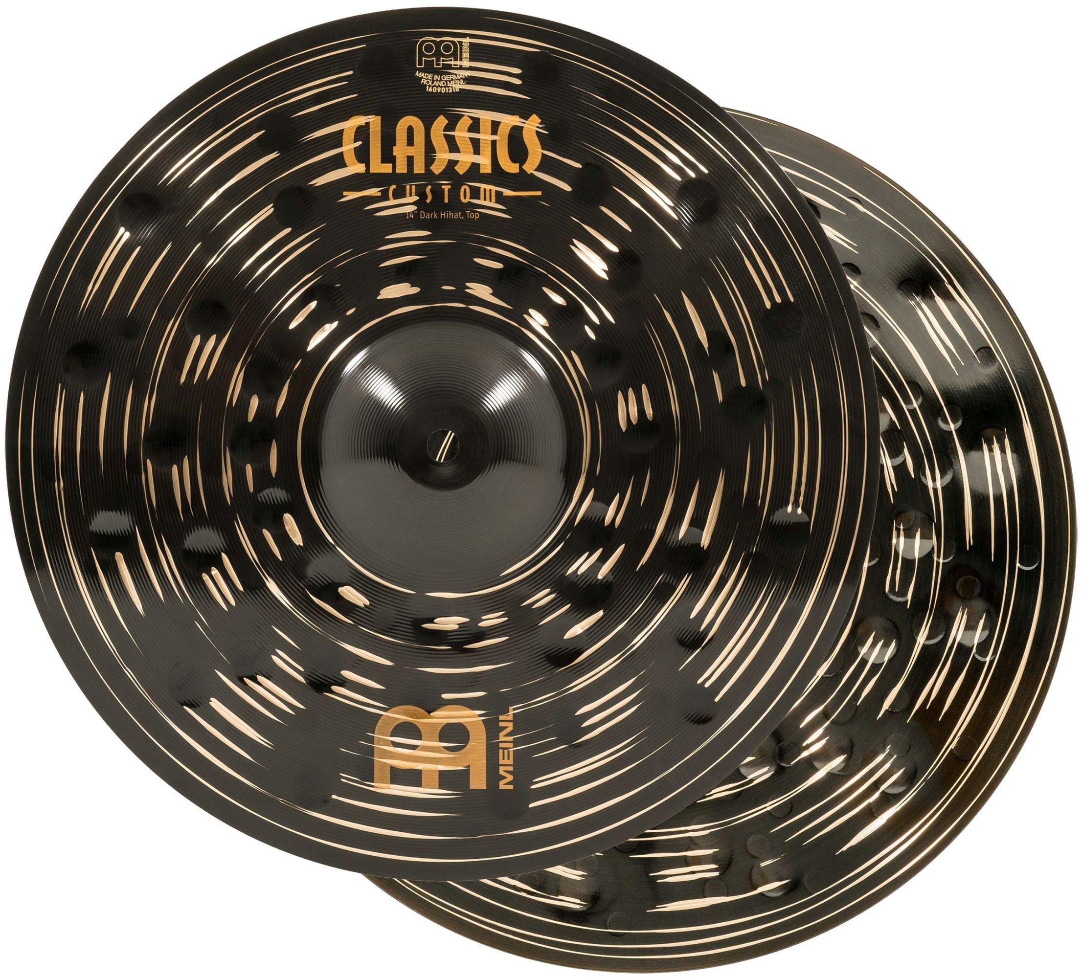 Meinl 14'' Hihat (Hi Hat) Cymbal Pair - Classics Custom Dark - Made in Germany, 2-YEAR WARRANTY (CC14DAH) by Meinl Cymbals