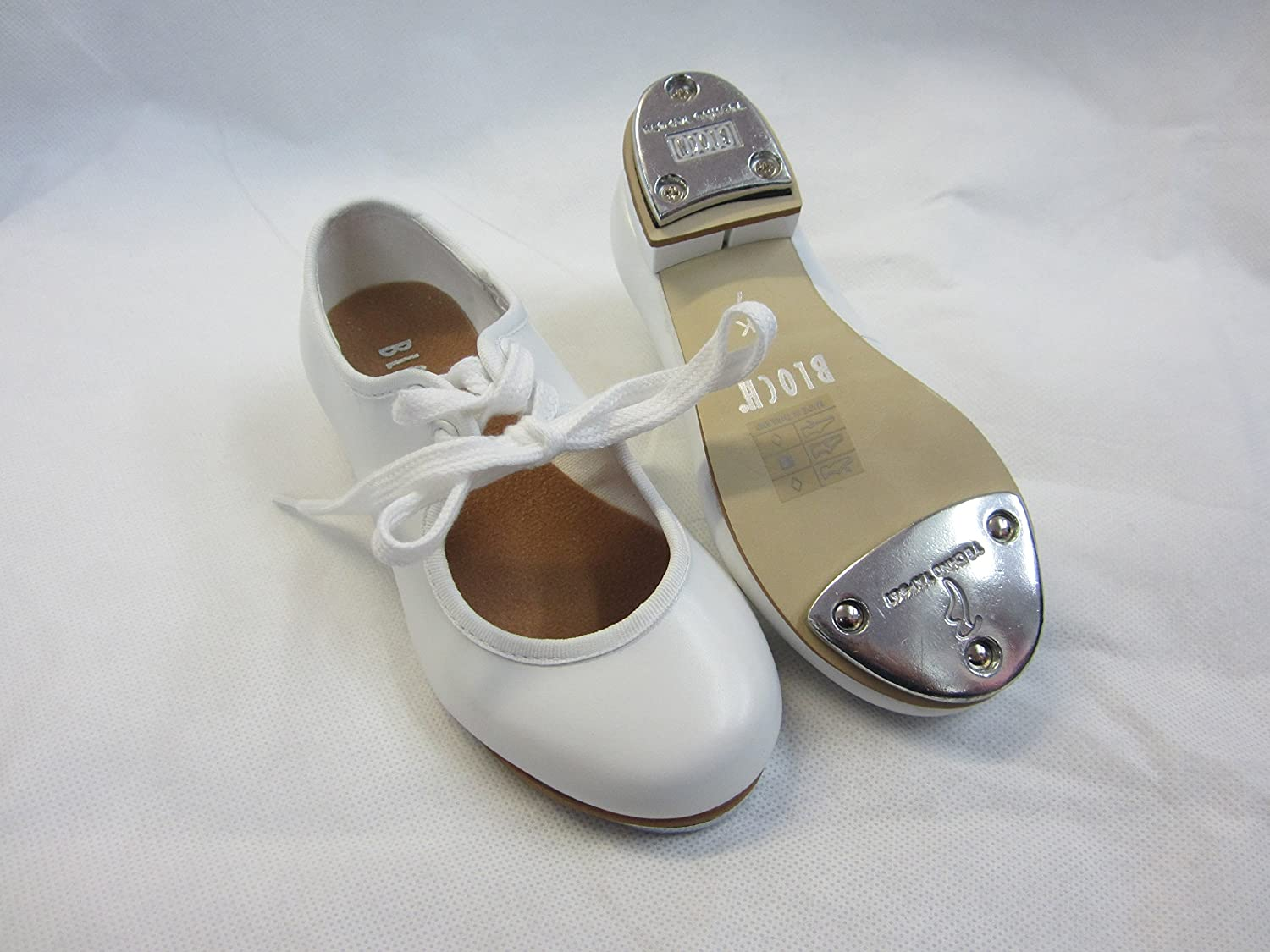 330 bloch white pu tap shoes child size heel and toe taps new