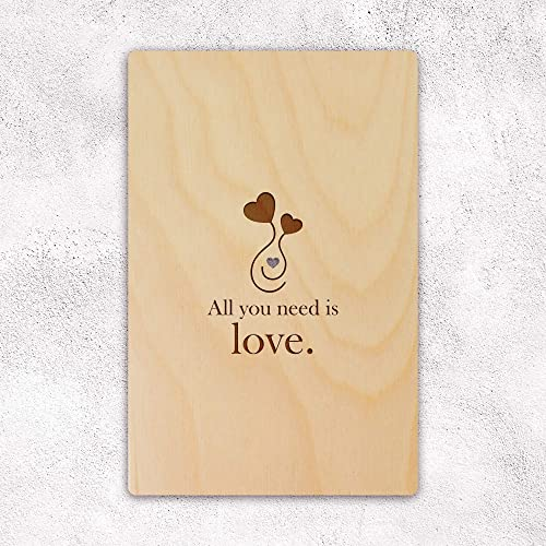 Amazon All You Need Is Love Wooden Greeting Card For