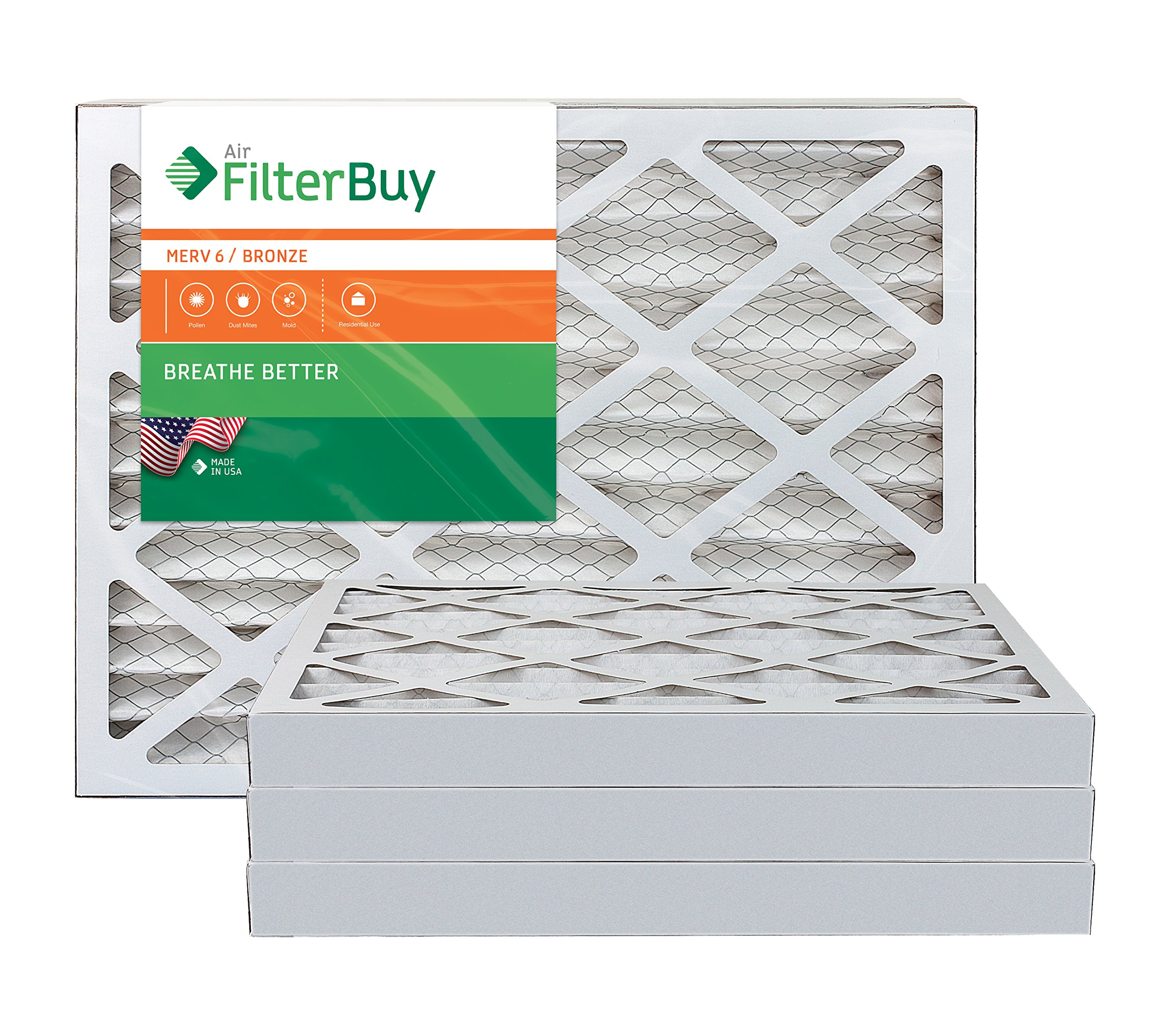 AFB Bronze MERV 6 16x20x2 Pleated AC Furnace Air Filter. Pack of 4 Filters. 100% produced in the USA.