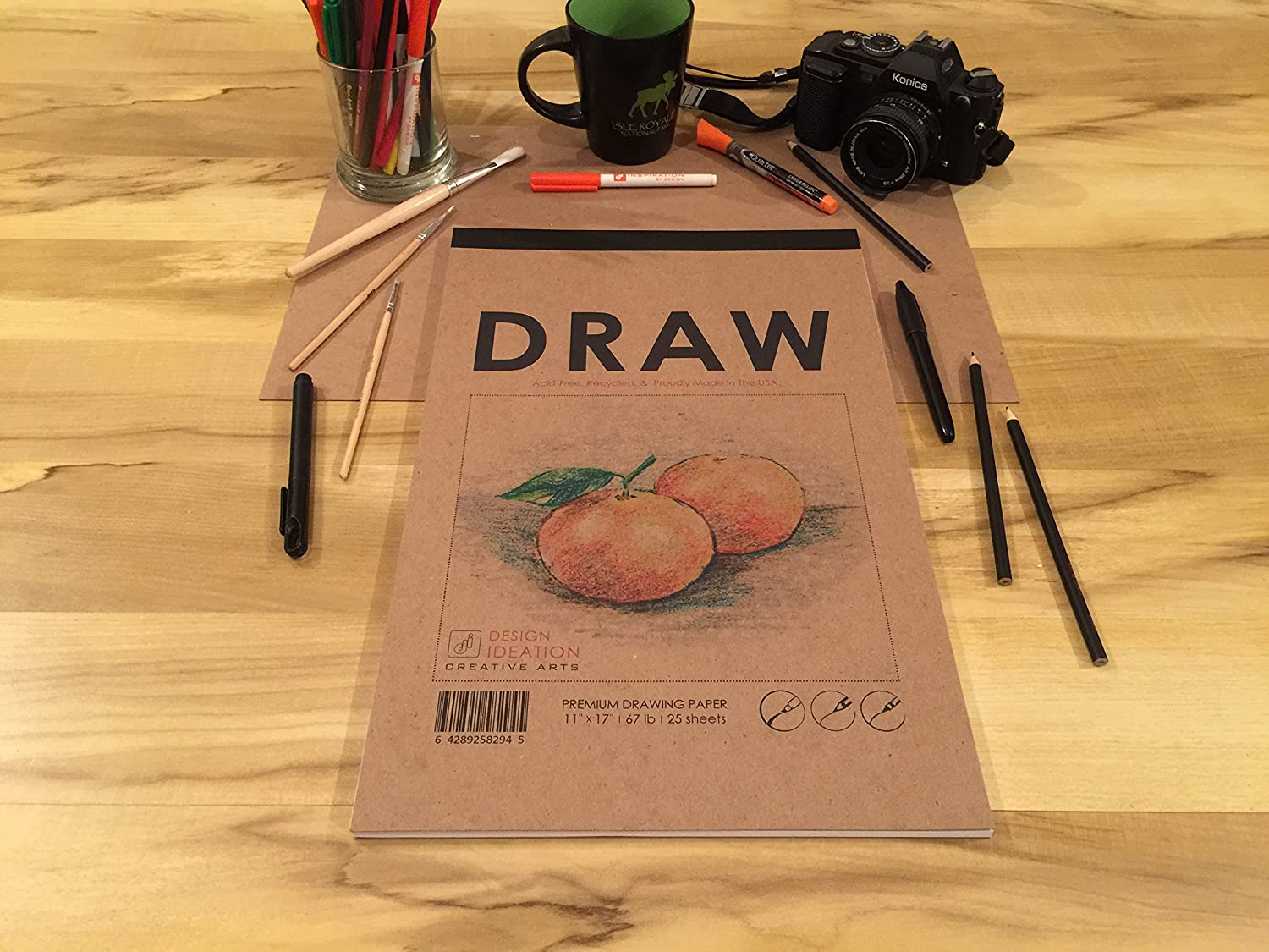 Great for Art Big 11 x 17 MADE IN THE USA: Premium Paper Drawing Pad for Pencil Design and Education. Ink and Marker
