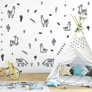 Wall Vinyl Black Alpaca Animal and Cactus Decal 50 pcs. Nursery Decor, Original Artist Design. Adhesive Animals Sticker for Kids. Baby Nordic Lama, Cacti, Flowers, Triangles Bedroom Decoration.