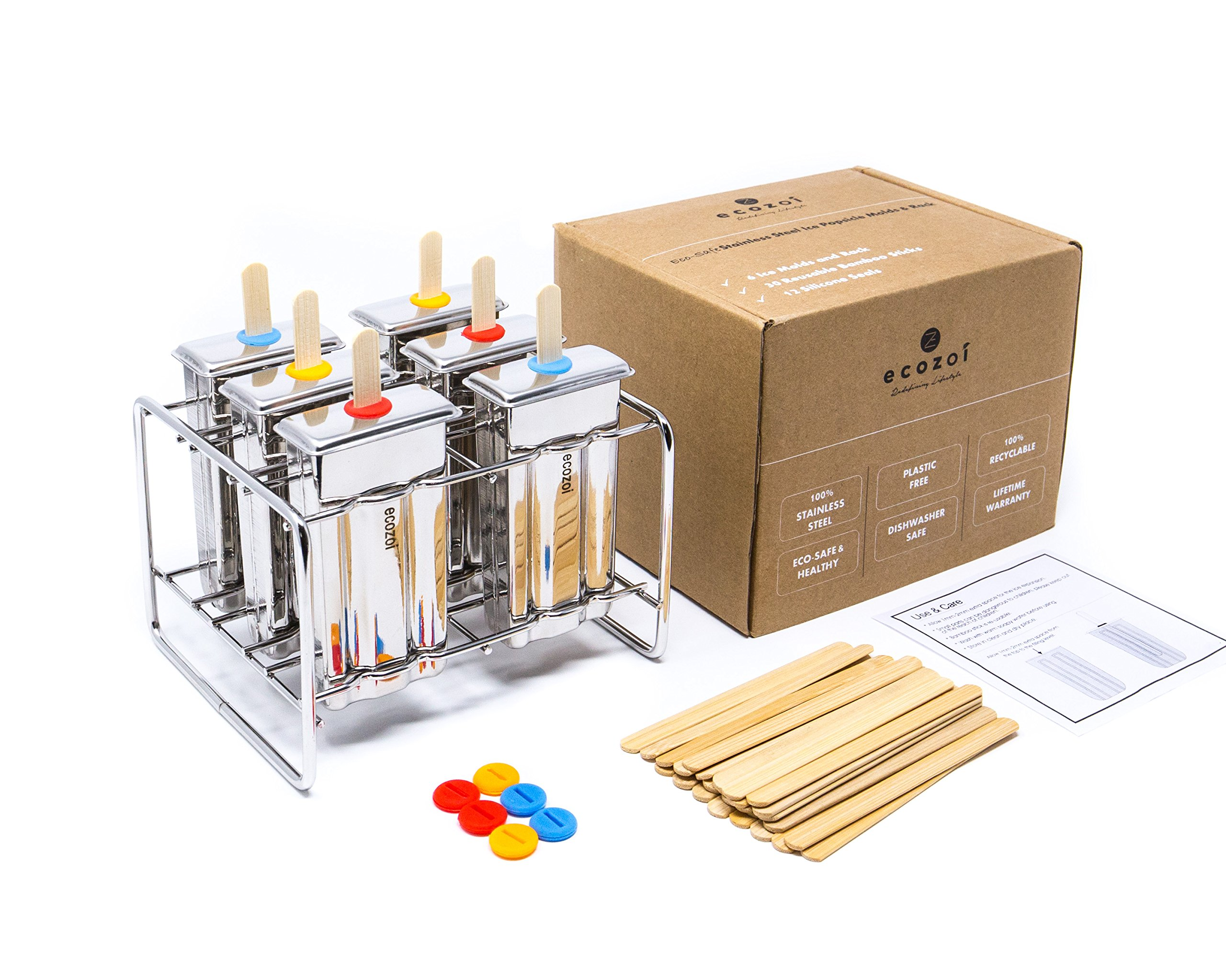 Ecozoi Eco-Safe Stainless Steel Popsicle Molds and Rack - 6 Ice Pop Makers + 30 Reusable Bamboo Sticks + 12 Silicone Seals + 1 Rack