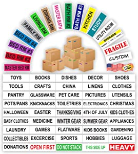 Kenco Color Coded Moving Labels - Full Box Pack - Includes Fragile Moving Supplies Packing Stickers (MEGA Pack)