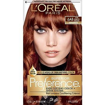 L\'Oréal Paris Superior Preference Fade-Defying + Shine Permanent Hair  Color, 6AB Chic Auburn Brown, 1 kit Hair Dye