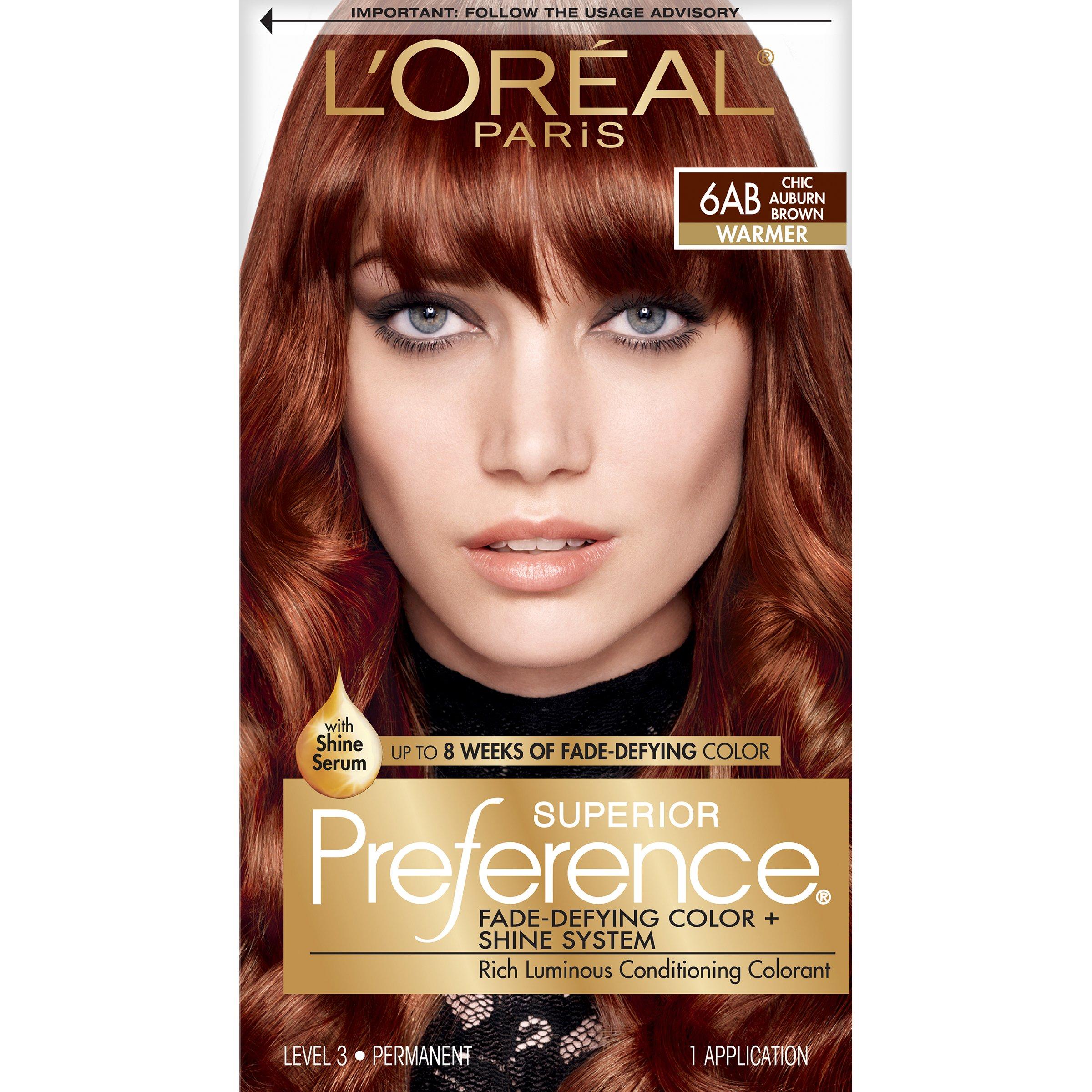 L'Oréal Paris Superior Preference Permanent Hair Color, 6AB Chic Auburn Brown
