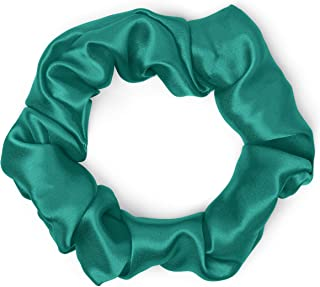 product image for Satin Scrunchies 100% Silk Premium Quality Ponytail Holders Choose Size Many Colors Scrunchie King Made in the USA (standard, teal)
