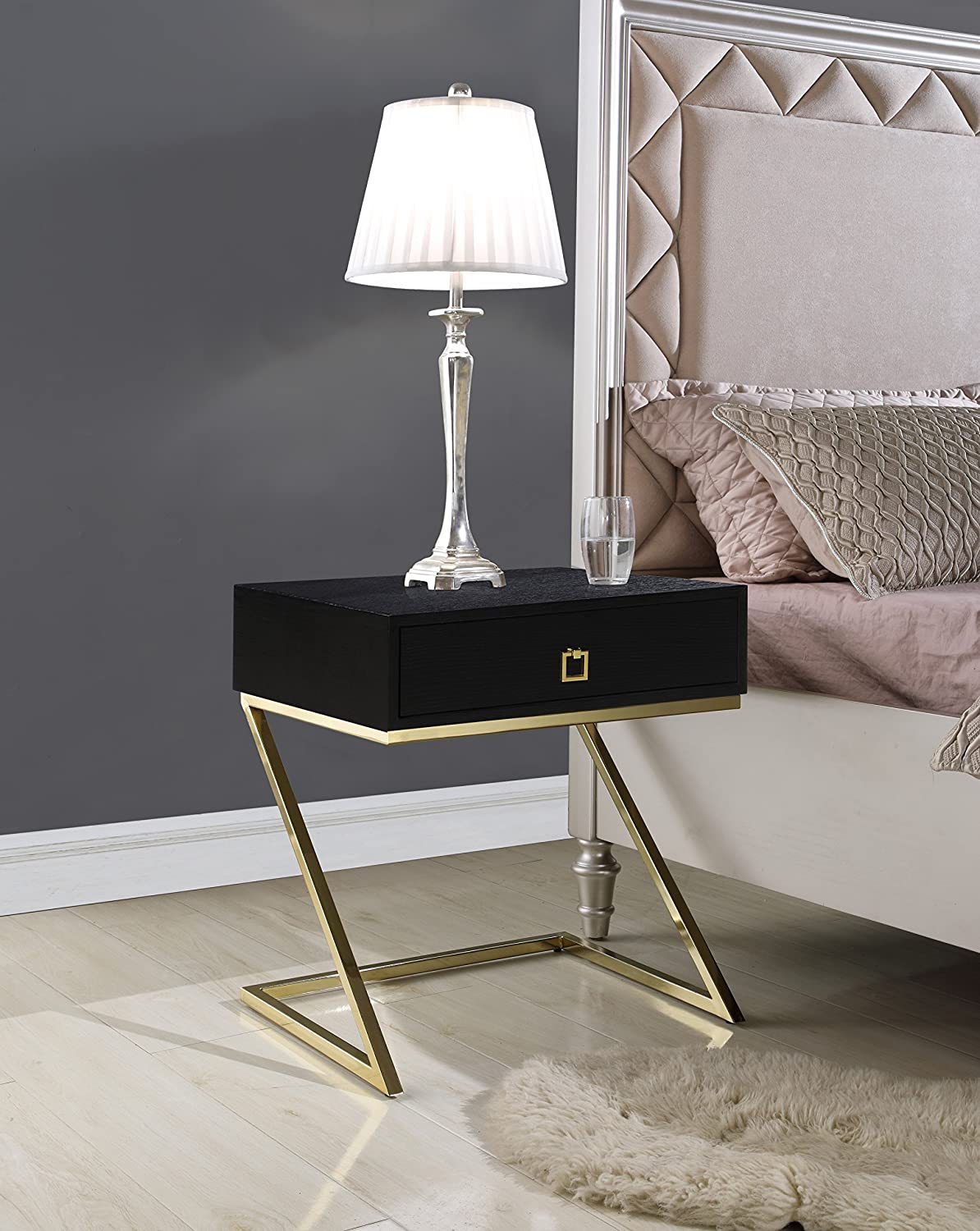 Iconic Home FST2969-AN Nightstand Side Table with Self Closing Drawer, Black