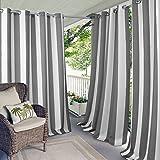 Elrene Home Fashions Indoor/Outdoor Patio Gazebo Pergola Cabana Stripe Grommet Top Single Panel Window Curtain Drape, 50 Inch Wide X 84 Inch Long, Gray (1 Panel)