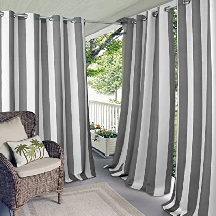 Merveilleux Elrene Home Fashions Indoor/Outdoor Patio Gazebo Pergola Cabana Stripe  Grommet Top Single Panel Window
