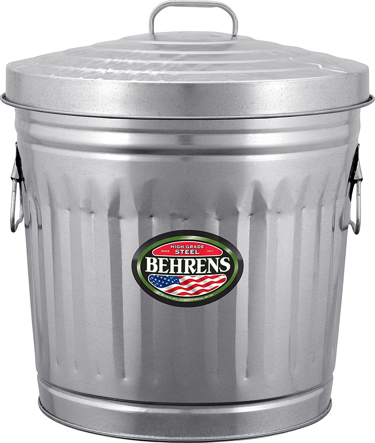 Amazoncom Behrens Manufacturing 6210 Galvanized Steel Trash Can