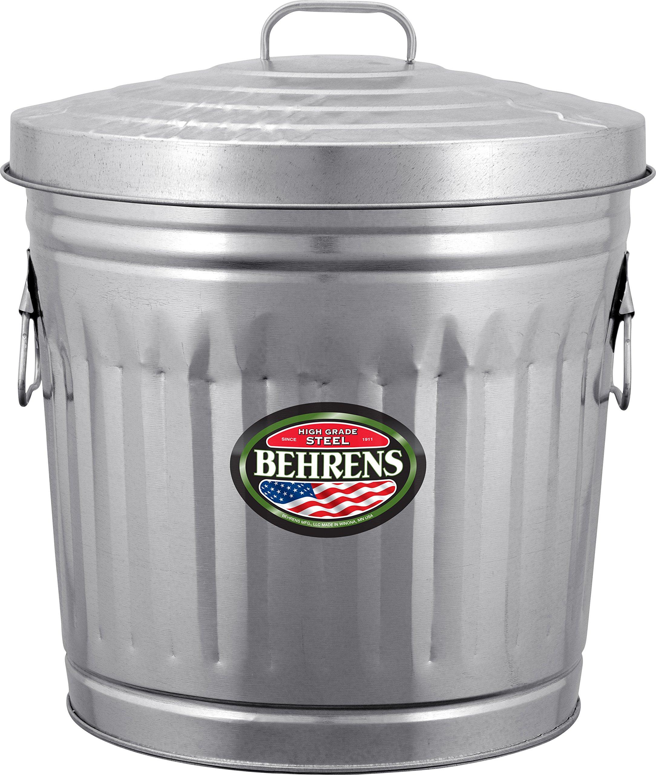 Behrens Manufacturing 6210 Galvanized Steel Trash Can, 10 gal