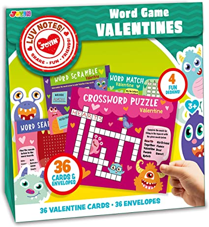 JOYIN 36 Pack Valentines Day Gift Cards of Word Game Cards for Classroom Exchange Prizes Valentine Party Favors