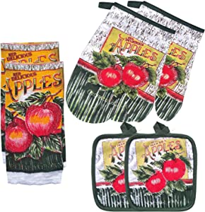 FSTIKO Green Apple Kitchen Towel Set with 2 Quilted Pot Holders, 2 Dish Towels and 2 Oven Mitt Kitchen Decor Linen Set for Cooking, Baking, Housewarming (Set of 6 Piece)