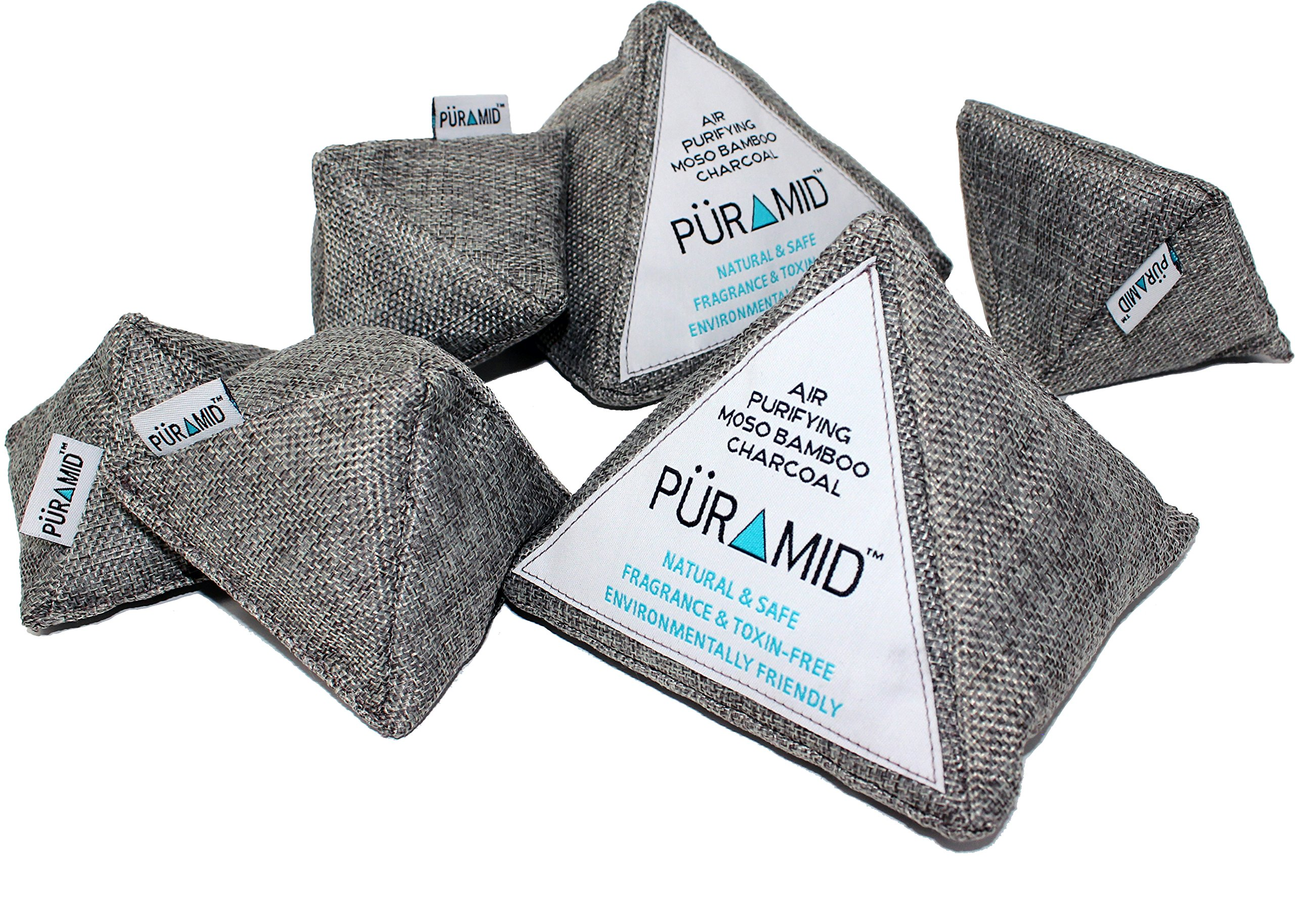 PÜRAMID Bamboo Charcoal Air Freshener Deodorizer Purifying Decor Bags - 100% Natural Safe & Chemical Free Odor Moisture Absorber Eliminator 6 Pack for Home, Shoes, Car, Closet, RV, Pets and Litter Box
