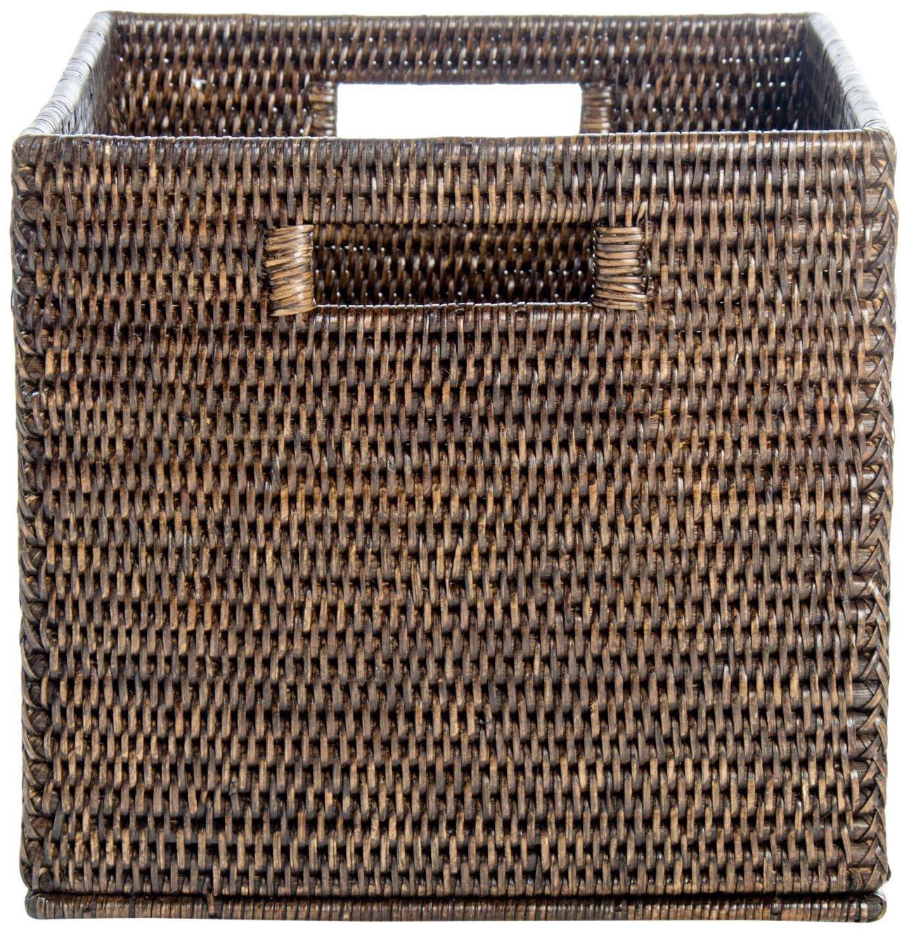 Artifacts Rattan Storage Basket with Cutout Handles