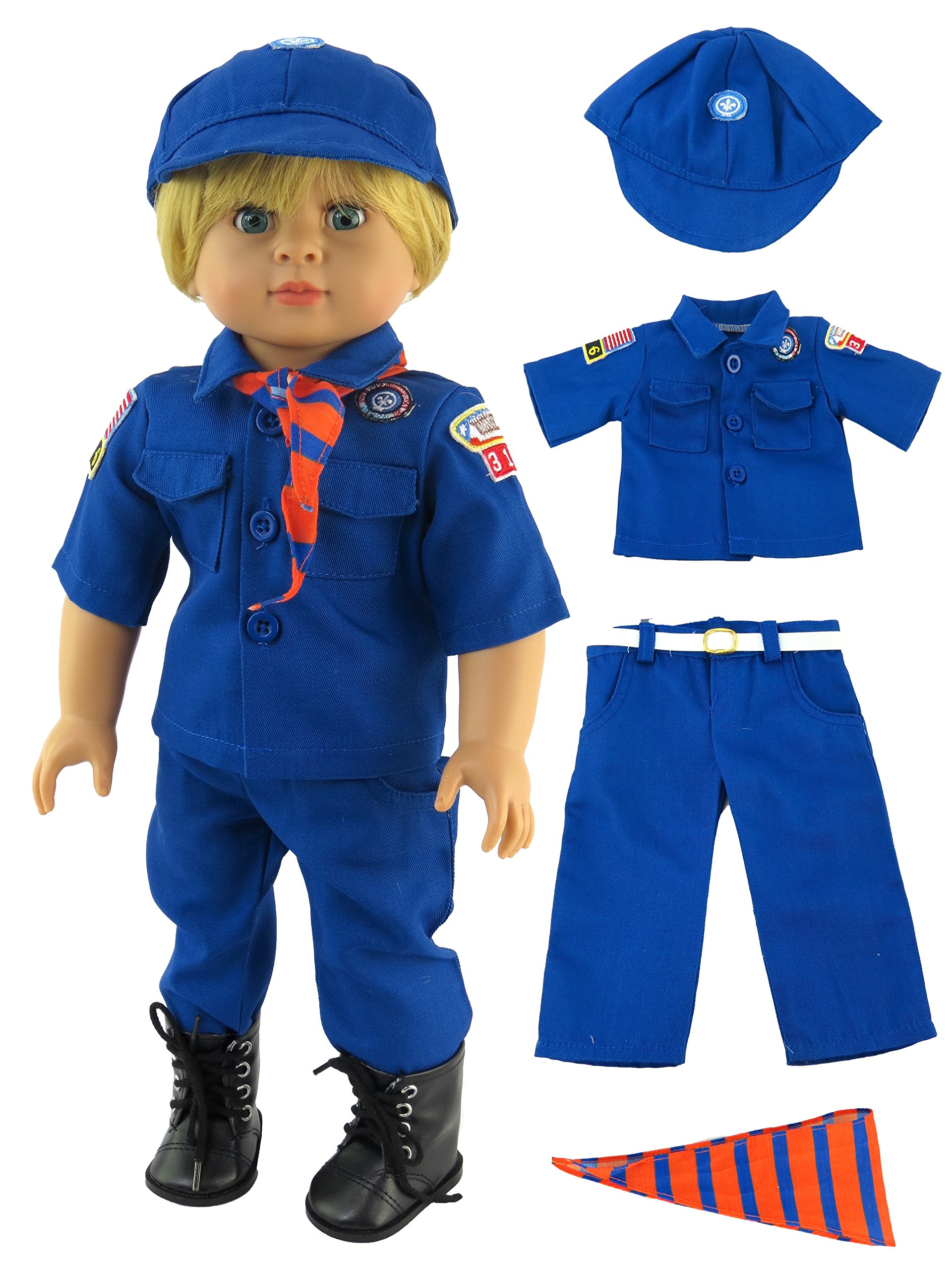 Cub Scout Boy Scout Outfit for 18 Inch Dolls | Fits 18'' Doll | Charming And Stylish Boy Outfit | American Girl Dolls, Madame Alexander, Our Generation, etc. | 18 Inch Doll Clothes by American Fashion World