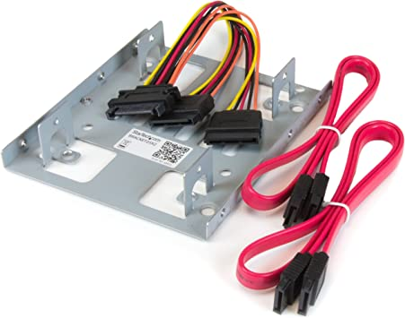 """2.5/"""" Dual SSD to 3.5/"""" HDD Mount Bracket Hard Drive Holder SATA 3.0 Lock Cable"""