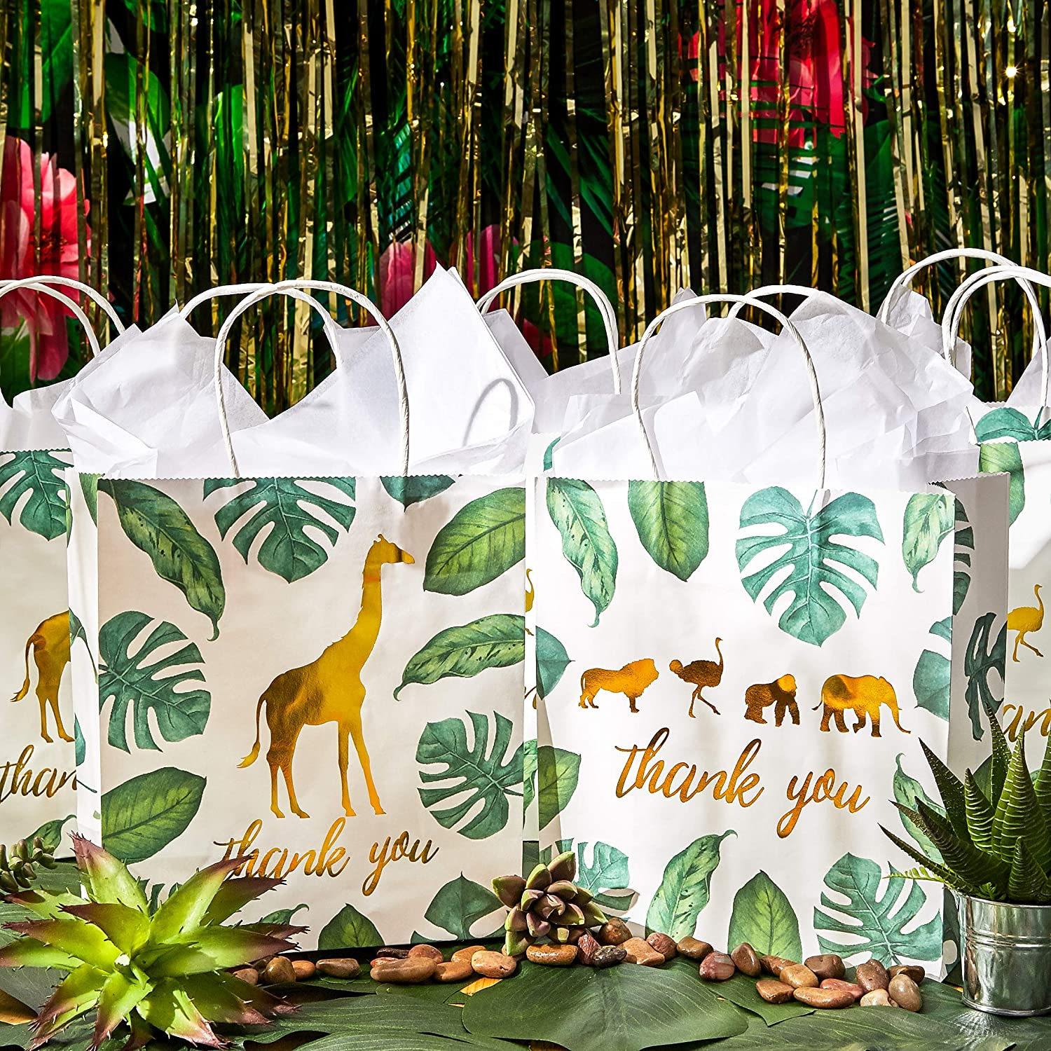 9 x 8 x 4 Inches Juvale 12-Pack Jungle Safari Animal Thank You Kraft Gift Bags and 20 White Tissue Sheets for Baby Shower