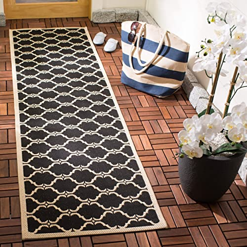 Safavieh Courtyard Collection CY6009-226 Black and Beige Indoor Outdoor Area Rug 2 x 3 7