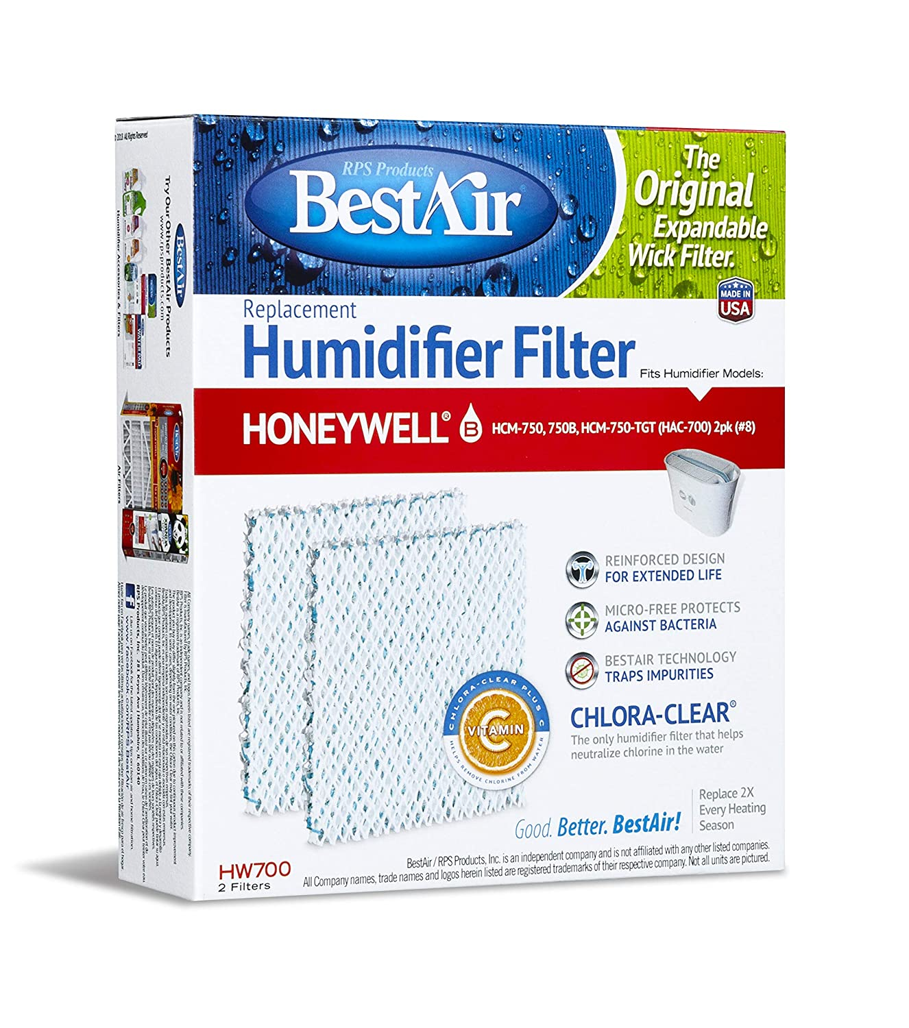 BestAir HW700-PDQ-3 Extended Life Humidifier Replacement Paper Wick  Humidifier Filter, For Honeywell HCM750, 750-TGT (HAC-700), 5 9