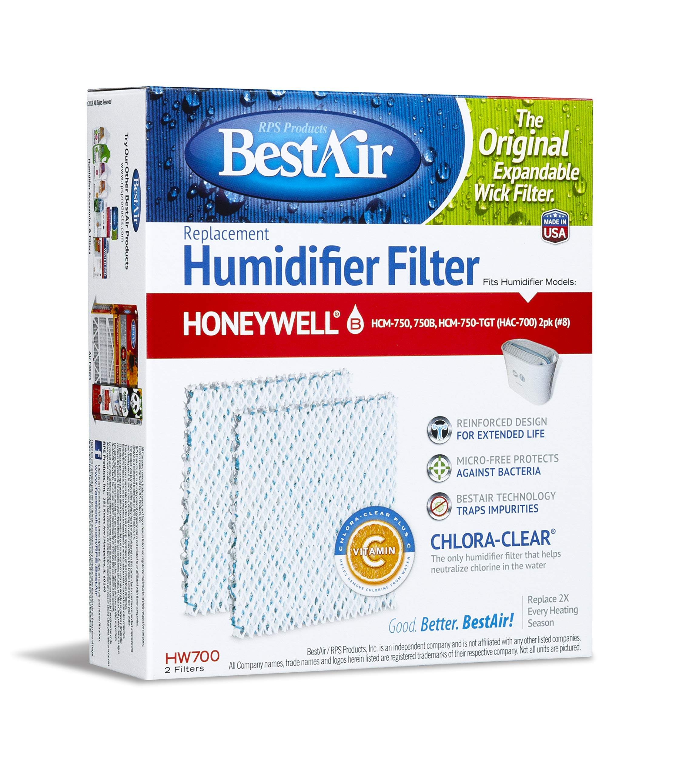 BestAir HW700-PDQ-3 Extended Life Humidifier Replacement Paper Wick Humidifier Filter, For Honeywell HCM750, 750-TGT (HAC-700), 5.9'' x 1.8'' x 6.8'', Single Pack (2 Filters) by BestAir