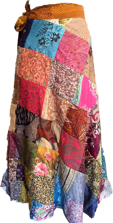 Sari Silk Vintage Patchwork Wraparound Skirt