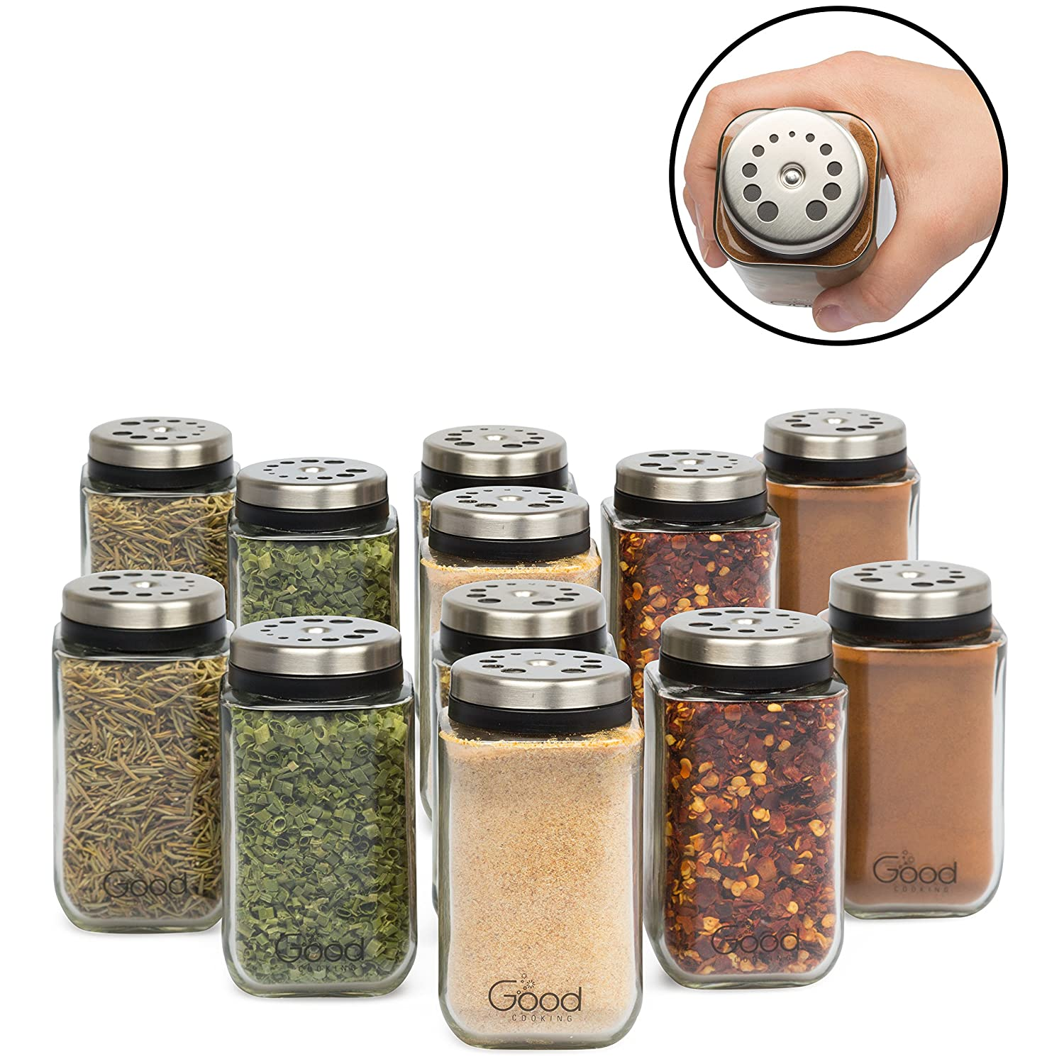 Adjustable Glass Spice Jars- Set of 6 Seasoning Shaker Rub Container Tins with 6 Pouring Sizes Good Cooking