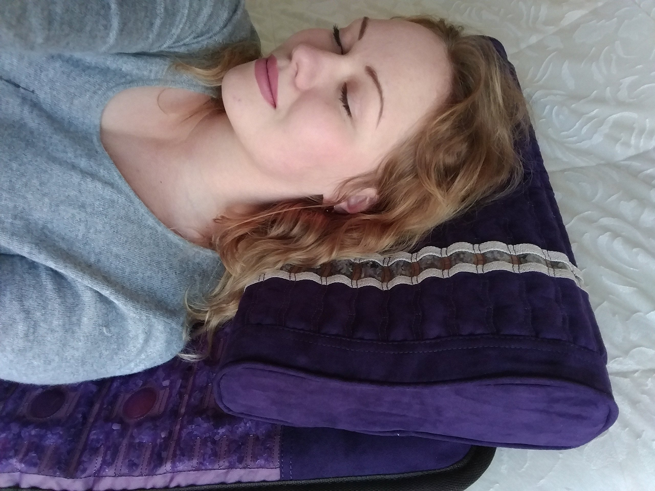 Far Infrared Amethyst Mat Pillow - Emits Negative Ions - Crystal FIR Rays - 100% Natural Amethyst Gemstones - Non Electric - For Headache and Stress Relief - To Sleep Better - GENTLE support - Purple by MediCrystal (Image #7)