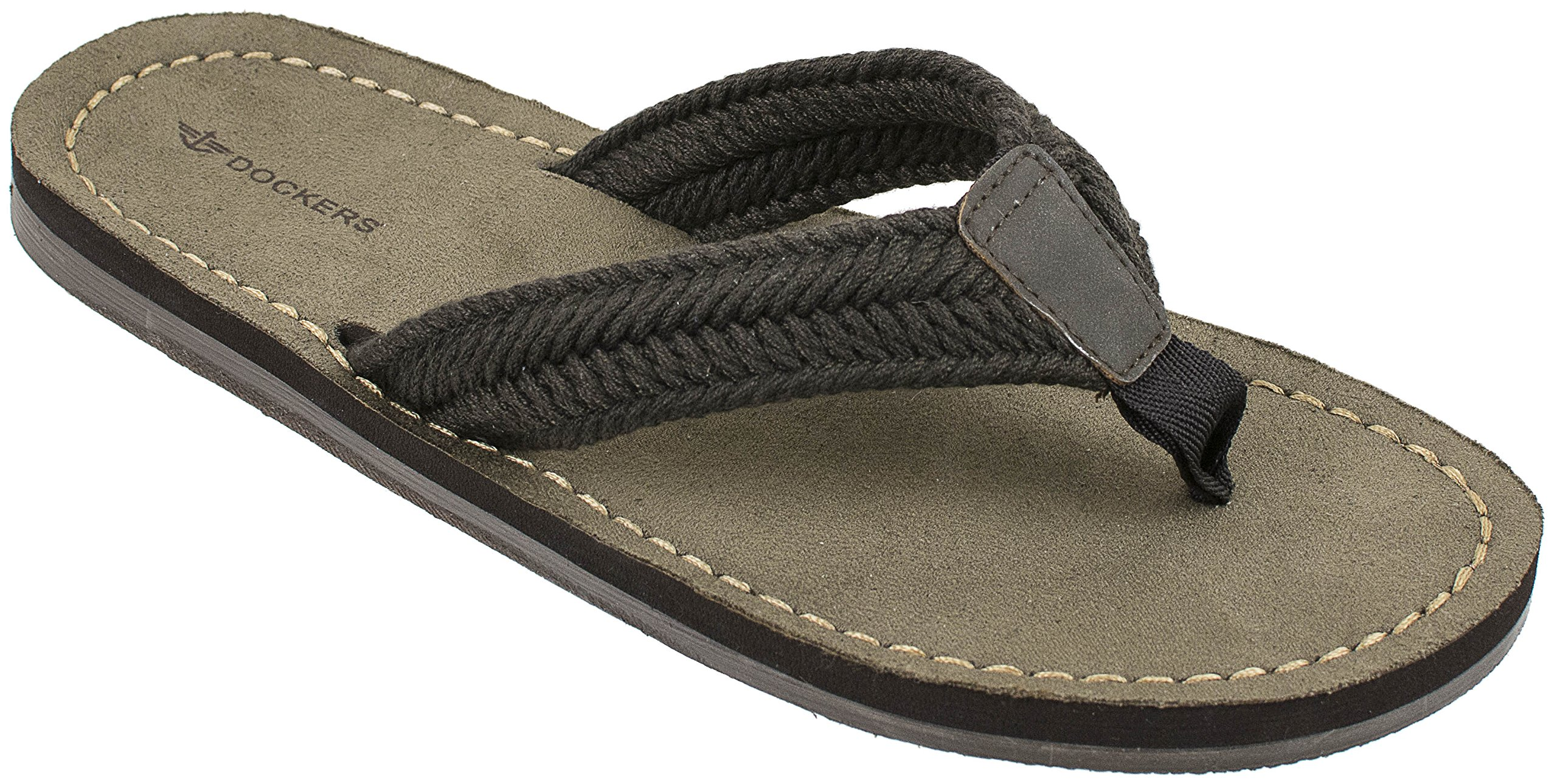Dockers Men's Nicholas Casual Sandal with Webbing Upper Flip Flop, Brown, XX-Large/13 M US