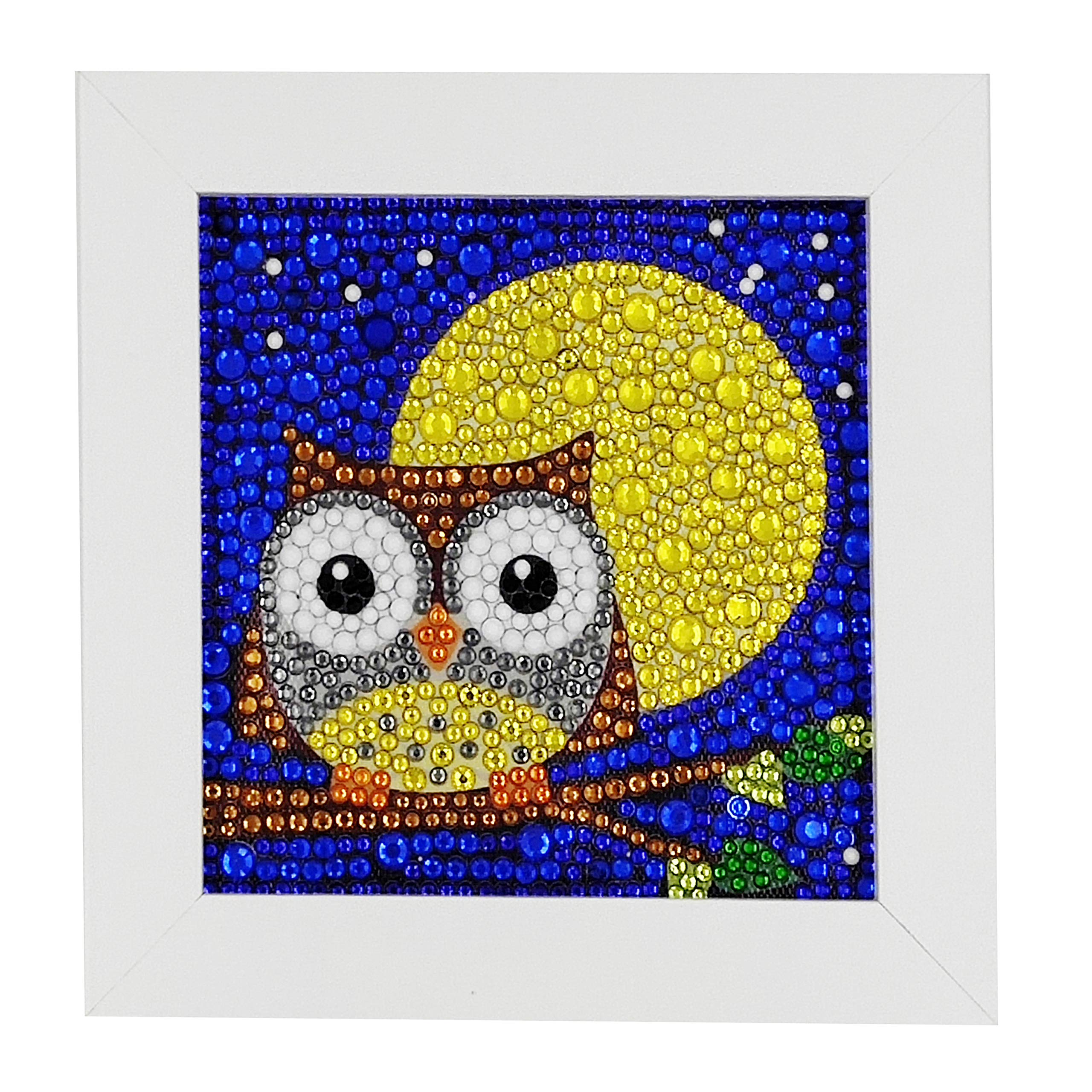 ParNarZar Easy 3D Diamond Painting Kit for Kids, Full Drill Painting by Number Kits with Wooden Frame Crafts Supply Set Rhinestone Mosaic Making - Owl and Yellow Moon 6x6inches by ParNarZar