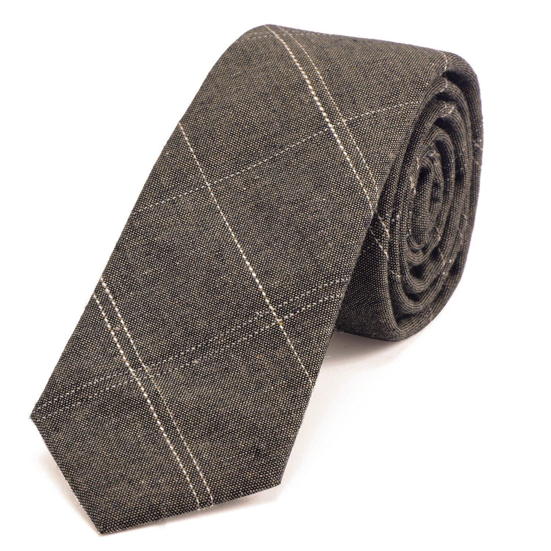 DonDon cravatta stretta a righe da uomo 6 cm cotone