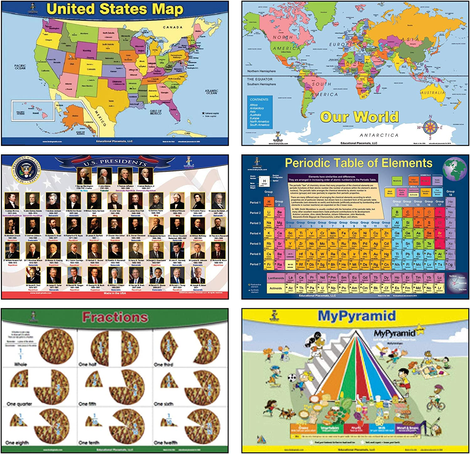Brainy Mats Educational Kids Placemats (Explorer) Set Includes 4 Mats Plus 2 Includes Presidents with Joe Biden, USA Map, World Map, Periodic Table Plus 2 no Charge – Fractions and Food Pyramid