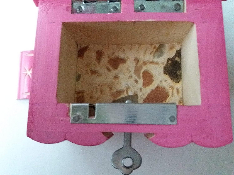 Nuevo lindo hecha a mano de madera rosa secreto rompecabezas m/ágico joyer/ía anillo caja titular regalo