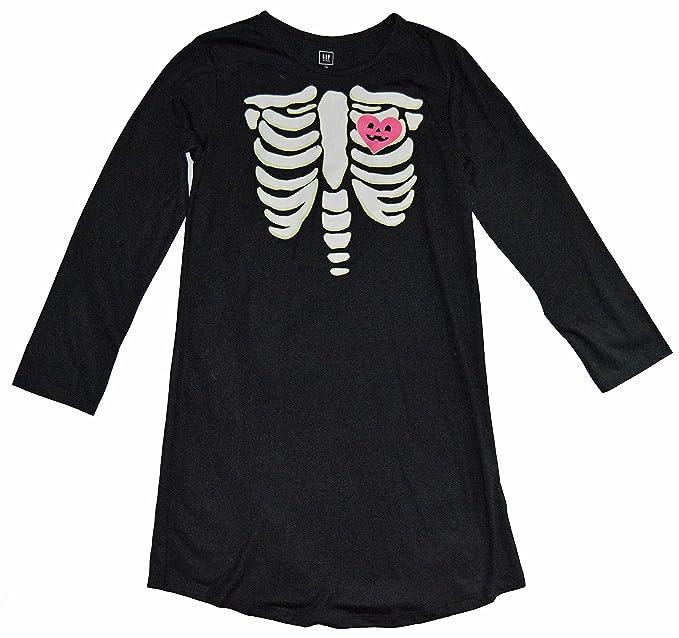ceb77d232498 Amazon.com  GAP Kids Girls Black Glow-In-The-Dark Skeleton Nightgown ...