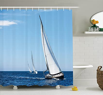 Superieur Ambesonne Sailboat Nautical Decor Collection, Luxury Yachts Sailing In The  Wind Through The Waves At
