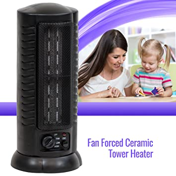 fan forced oscillating ceramic space heater tower home office 1500 watts black amazoncom stills office