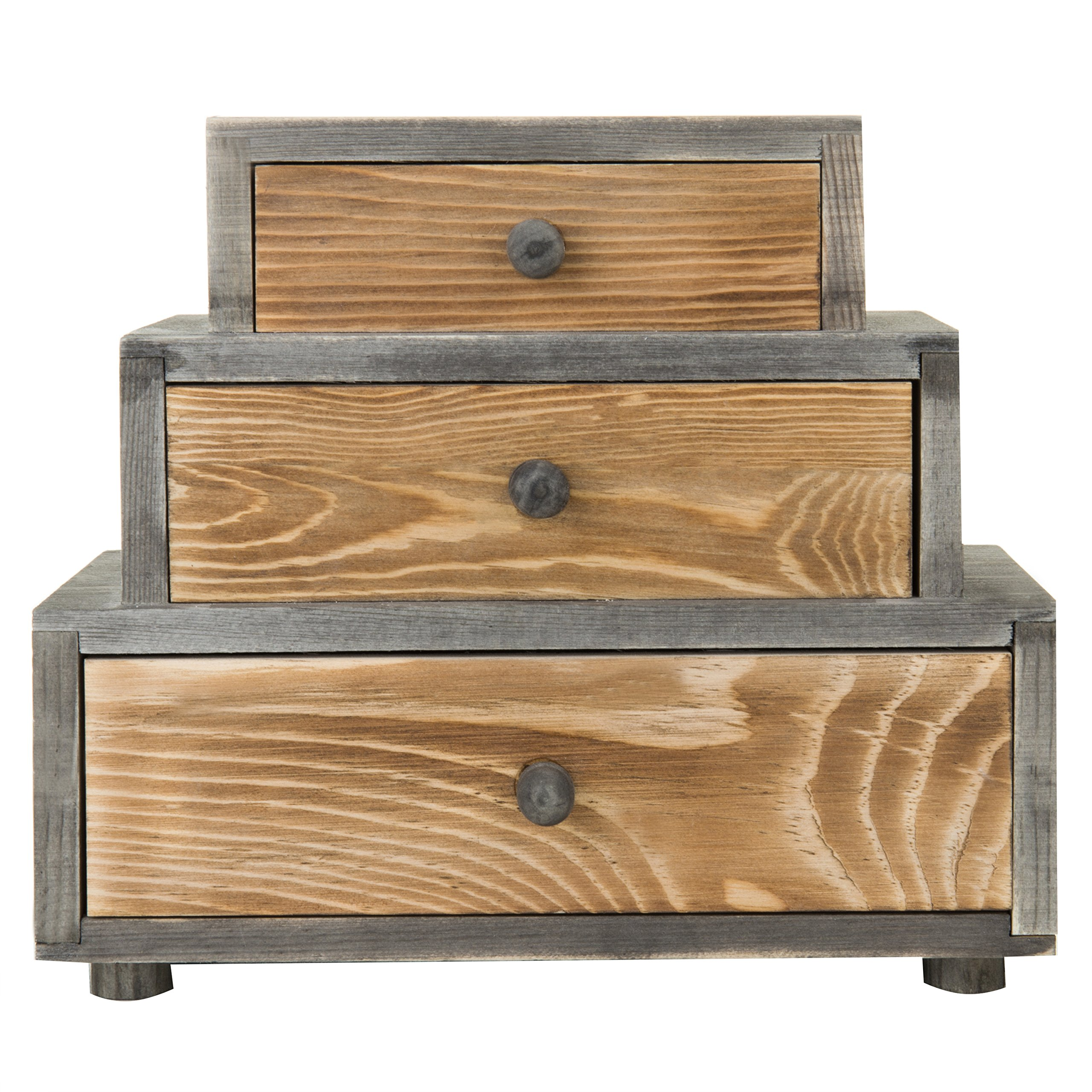 MyGift 3-Drawer Rustic Wood Office Storage Organizer by MyGift (Image #2)