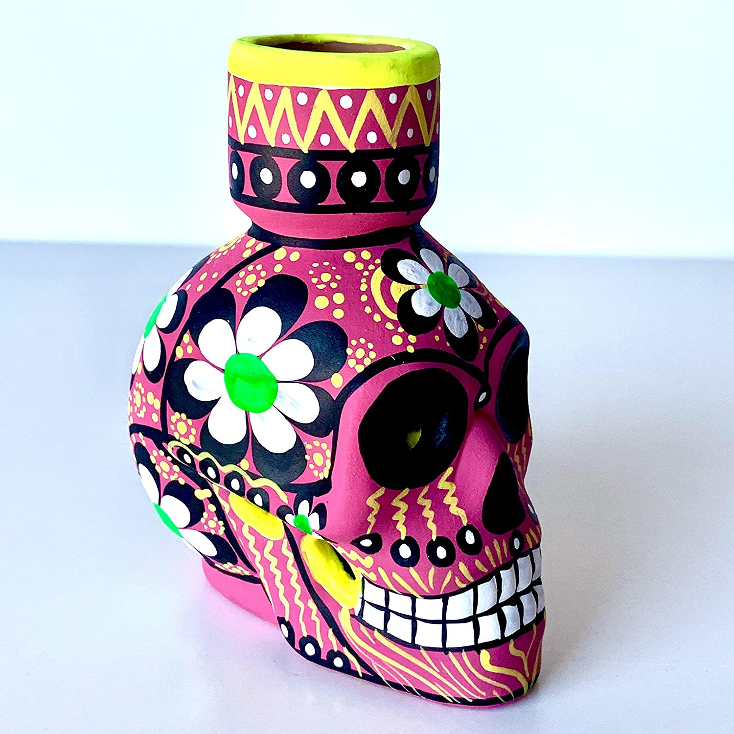 Artesano Day of The Dead Hand-Painted Ceramic Candlestick Candleholder Black and Grey Sugar Skull Figurine