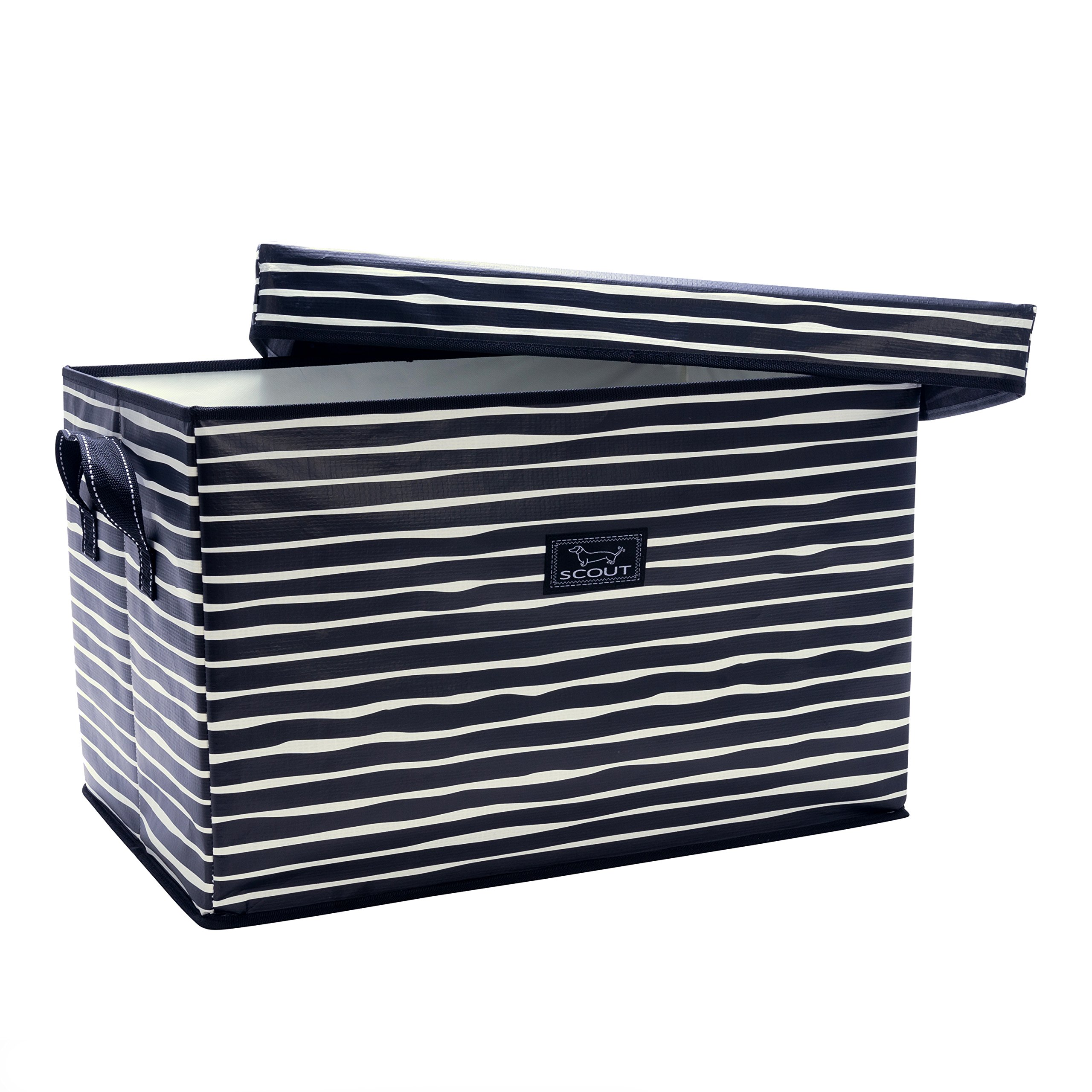 SCOUT Rump Roost Large Lidded Storage Bin, Collapsible and Stackable, Reinforced Side Handles and Bottom, Water Resistant, Ren Noir