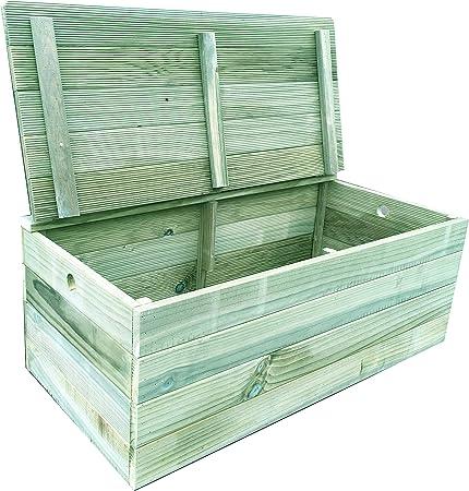 Baúl/banco de madera tratada para el exterior